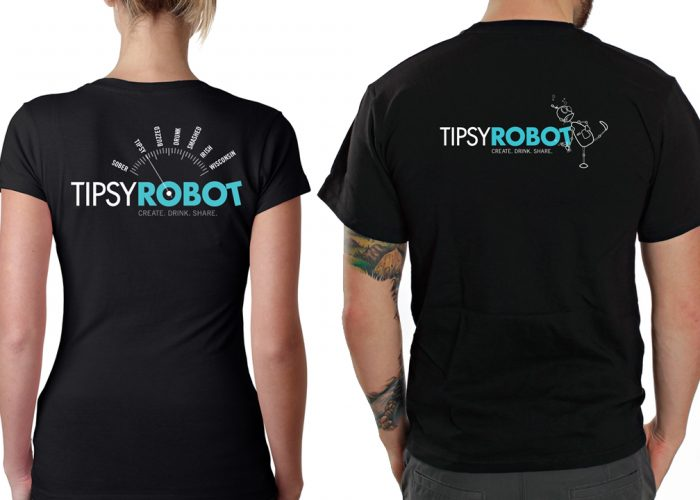 Image of a screen printed t-shirt for the Tipsy Robot Bar