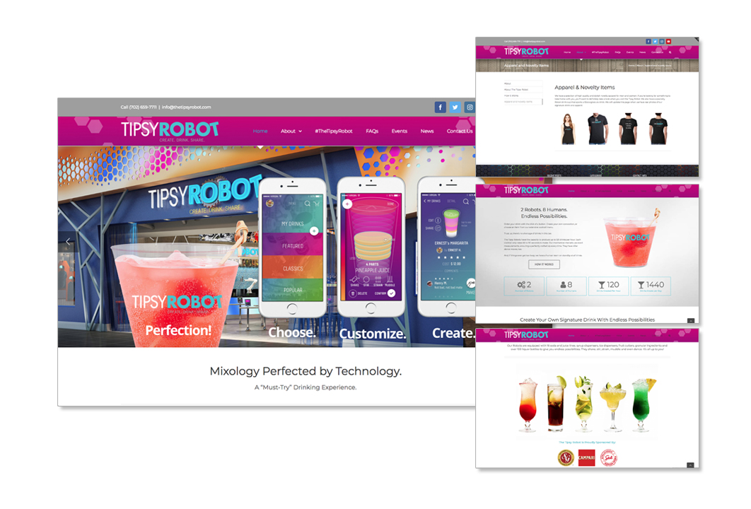 Website design development solution for a robotic bar in the Miracle Mile Shops