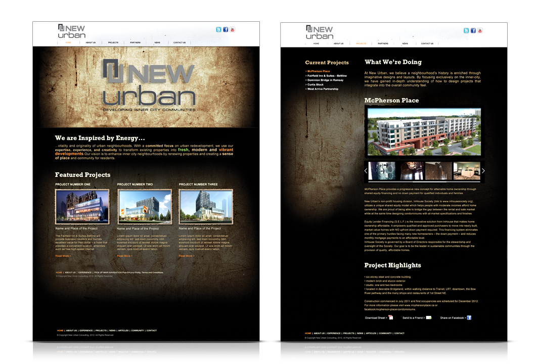 Image of a website design for a real estate company