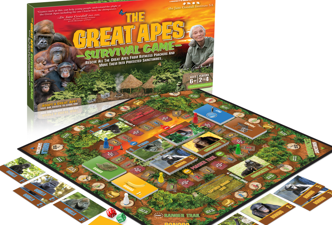 Image of The Great Apes Survival Board Game featuring Dr. Jane Goodall