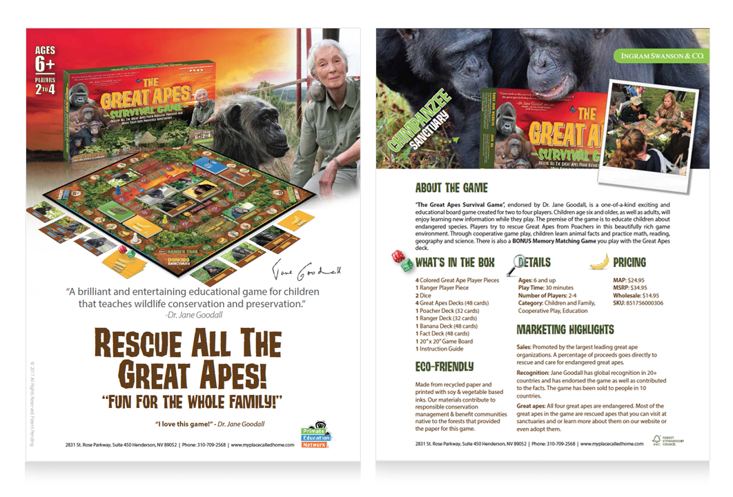 Image of a sales sheet for the Great Apes Survival Game